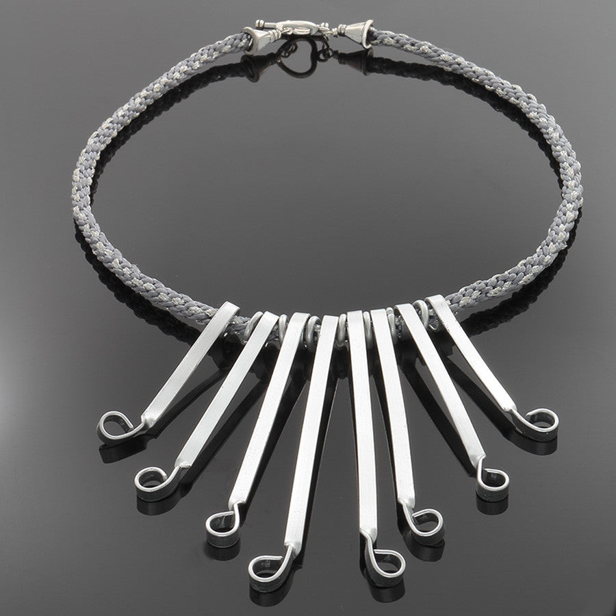 Silver Flair Necklace on Kumihimo Braid with Silver - Finesse Jewelry