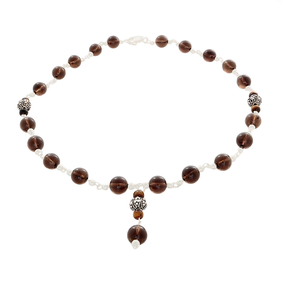 Smokey Quartz, Tiger's Eye and Silver Necklace