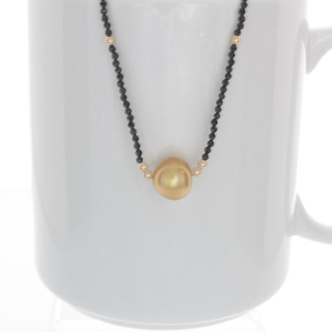 Golden South Sea Pearl with 14k gold and black spinel Necklace - Finesse Jewelry