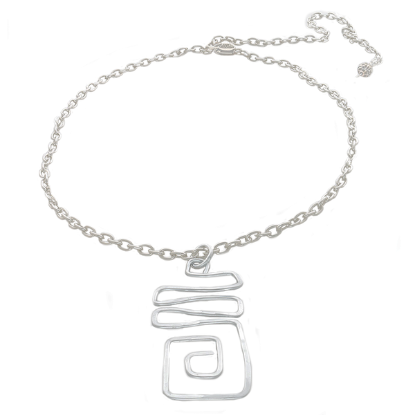 Square Abstract Pendant Necklace on a Silver Colored Adjustable Chain