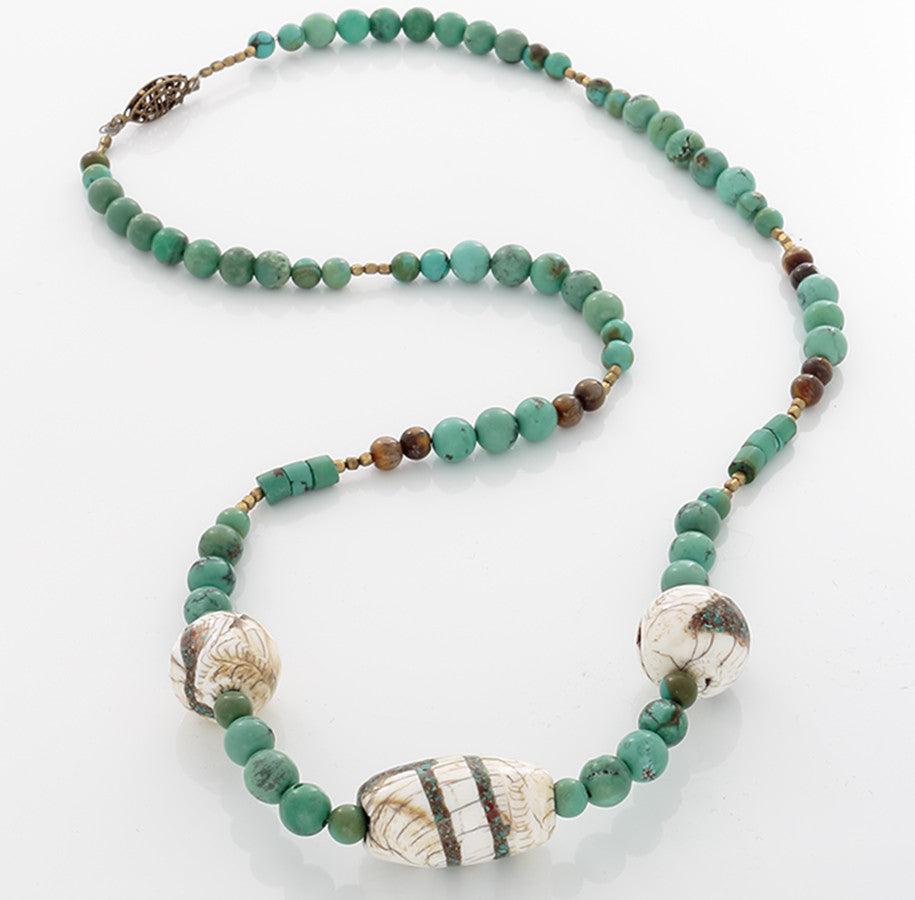 Tibetan bone inlaid with Turquoise & Turquoise & Tiger's Eye beads on a Brass classp - Finesse Jewelry