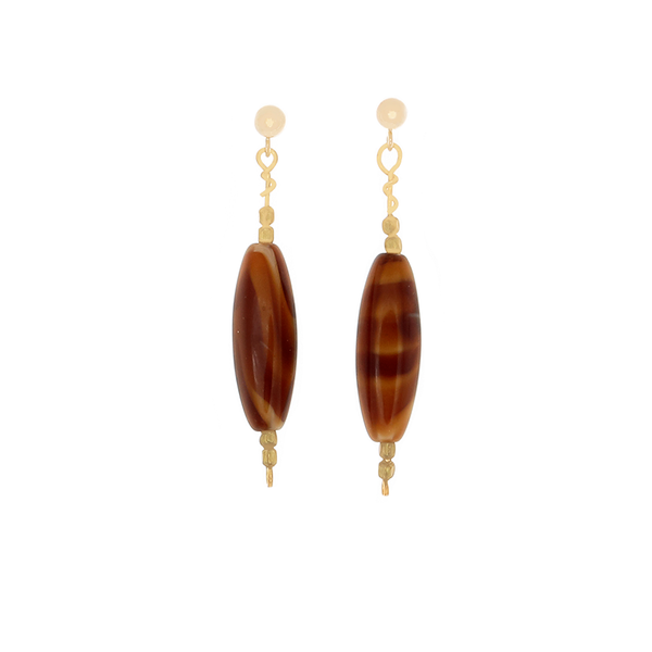 Tiger's Eye tube bead earrings on 14k Gold-filled posts - Finesse Jewelry