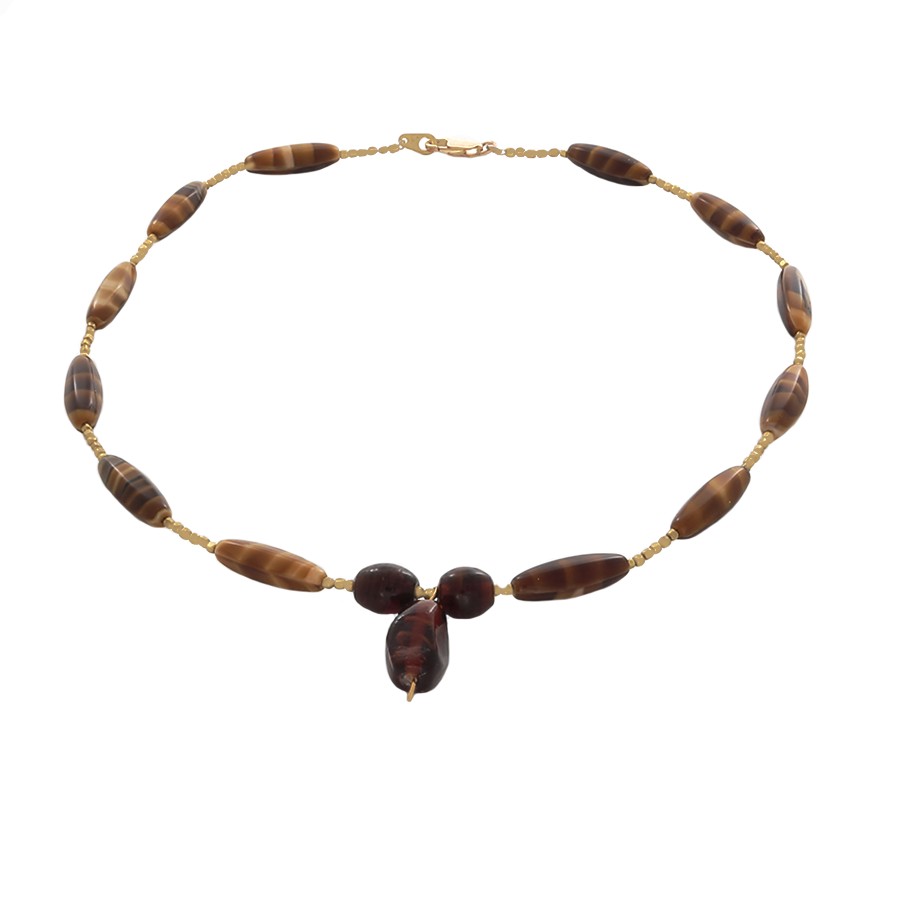 Tiger's Eye Bead Necklace with a Focal Bead in Gold