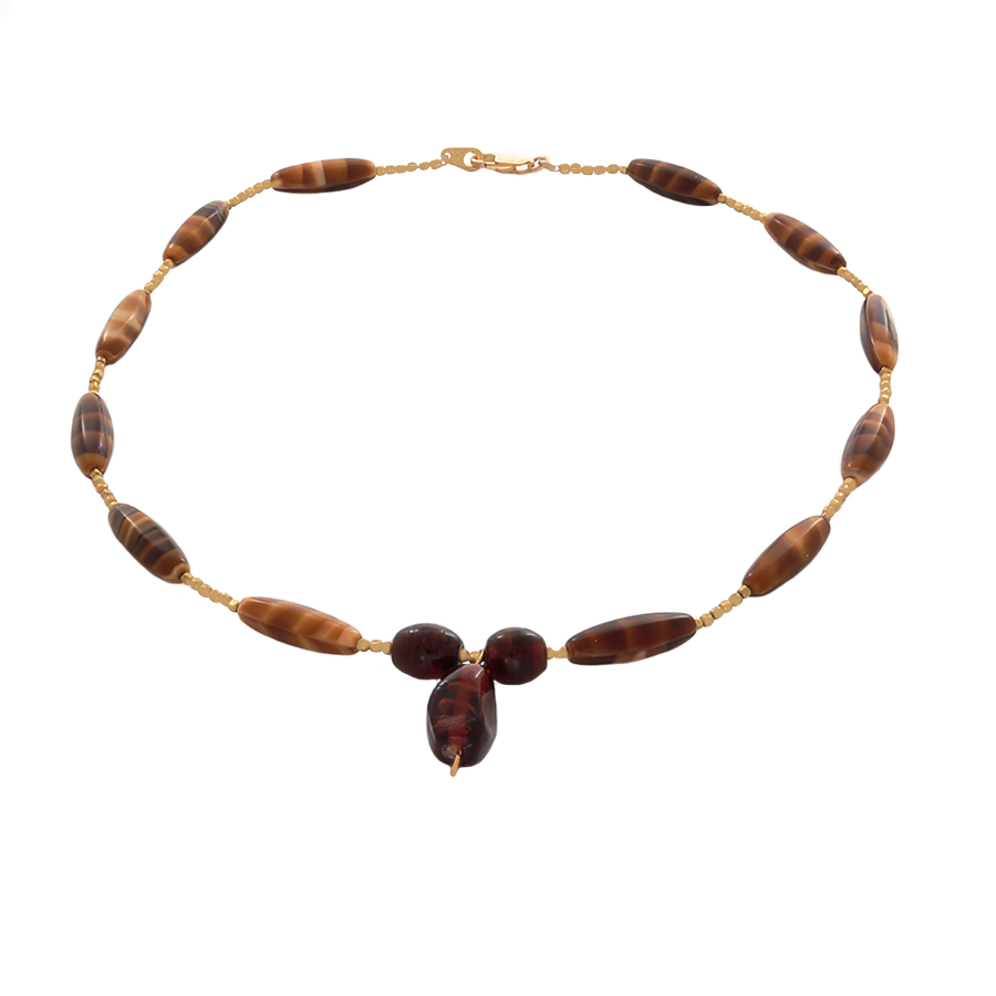 Tiger's Eye Bead Necklace with a Focal Bead in Gold - Finesse Jewelry