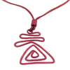 Triangle Wave Abstract Pendant Necklace - purple