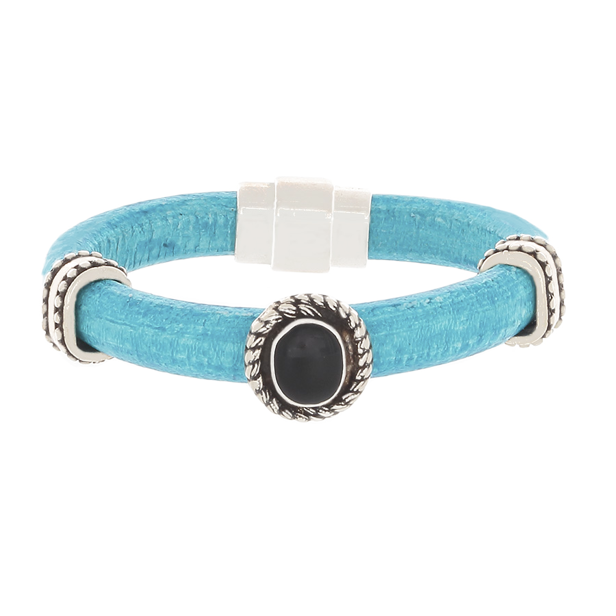 Turquoise Leather Bracelet with Silver and an Onyx slider