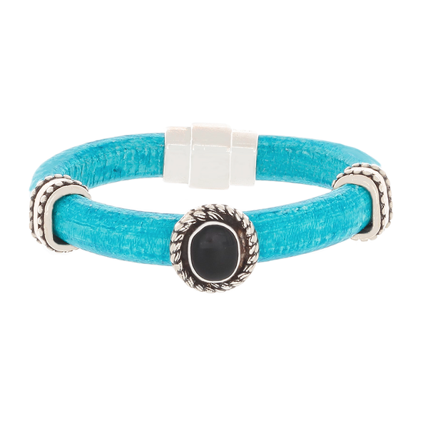 Turquoise Leather Bracelet with Silver and an Onyx slider - Finesse Jewelry