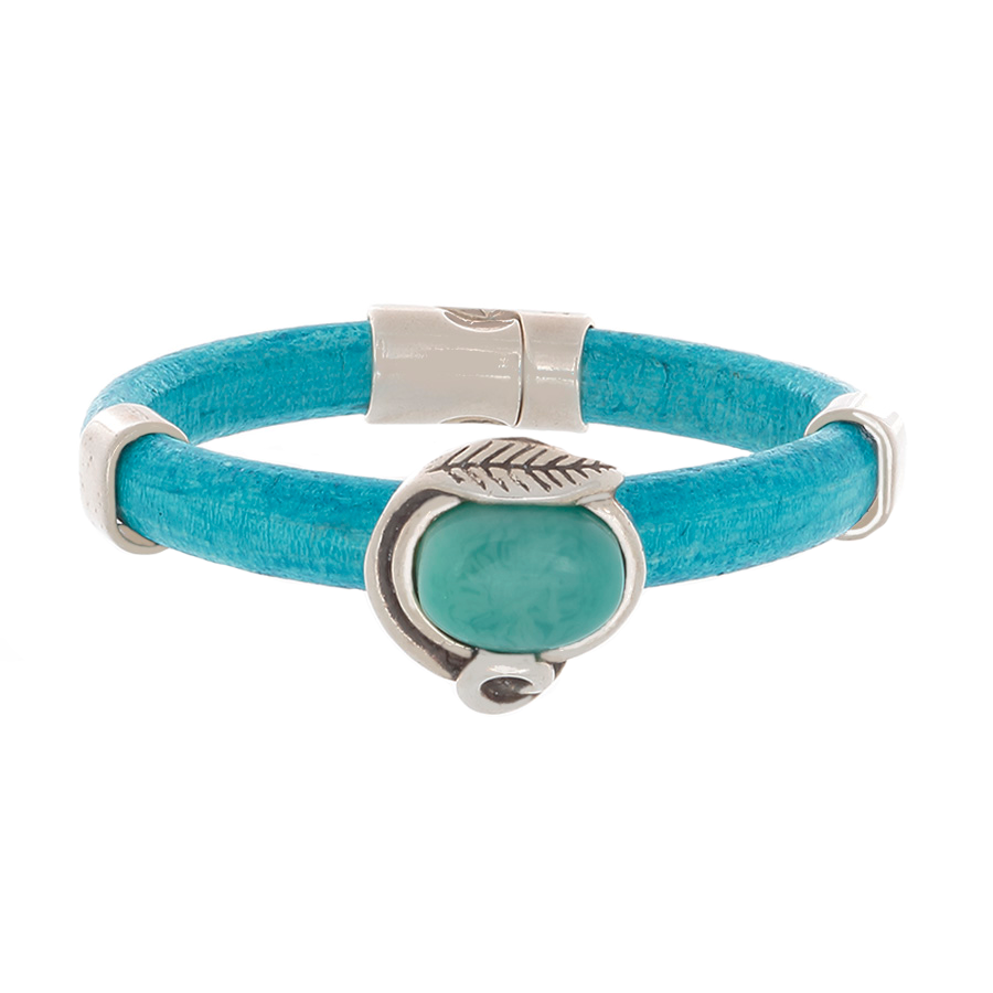 Turquoise Leather Bangle Bracelet with Turquoise agate slider & silver sliders - Finesse Jewelry
