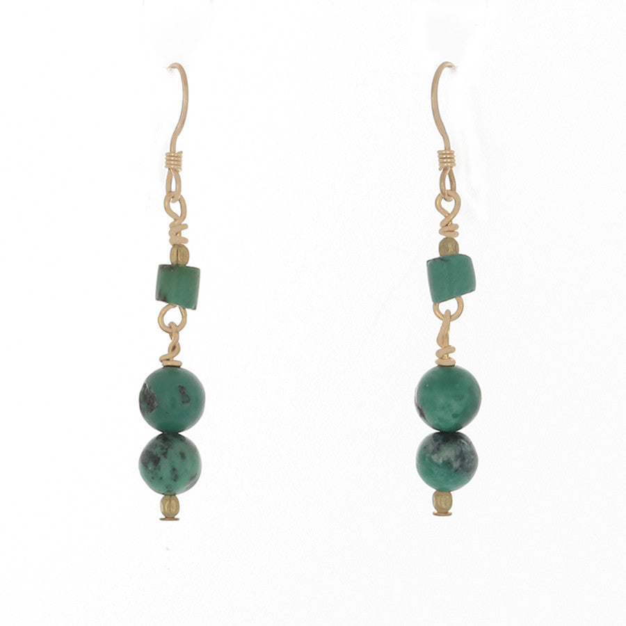 Green Turquoise & brass bead Earrings on French Hooks - Finesse Jewelry