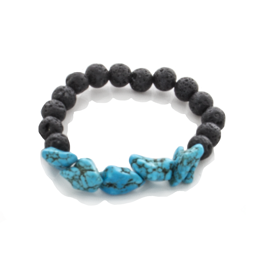 Turquoise Nugget and Lava Bead Stretch Infusion Bracelet - Crossover for Men and Women