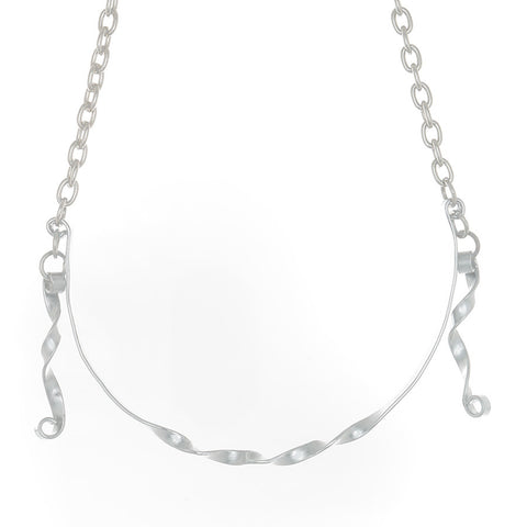Twisted Silver toned Necklace on Adjustable chain - Finesse Jewelry