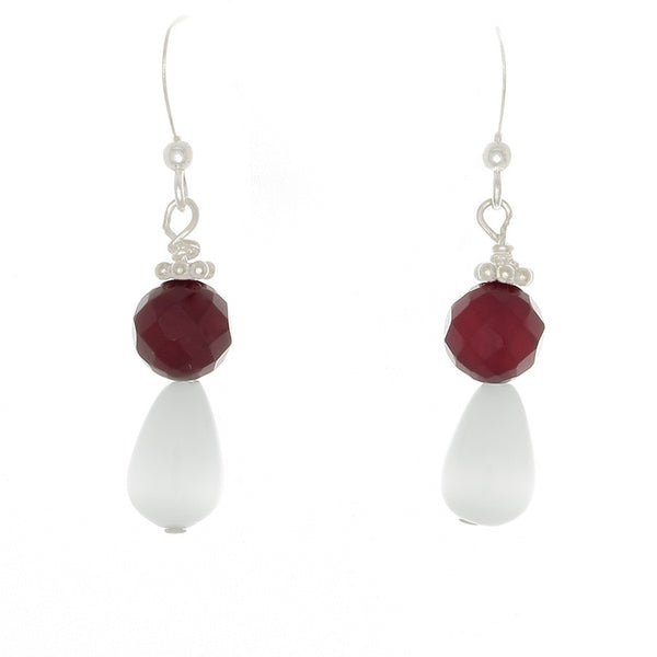 Ulexite & Carnelian Sterling French Hook Earrings - Finesse Jewelry