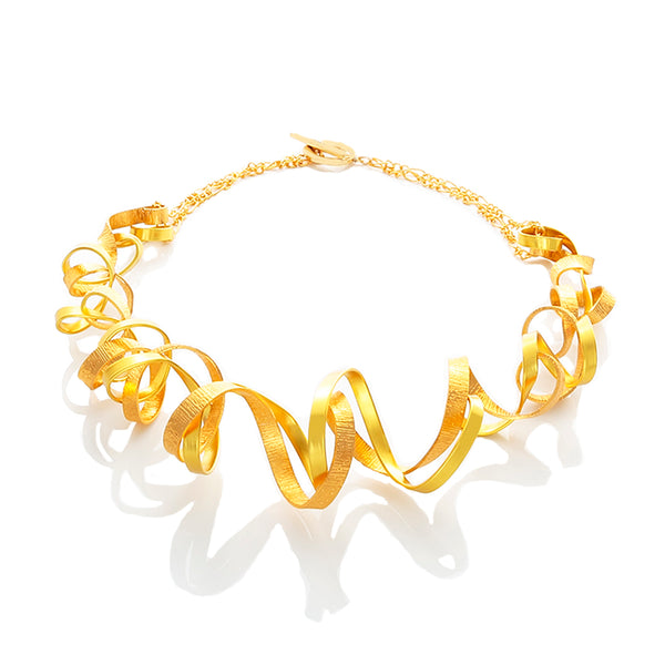 Curve wave two-tones of gold statment Necklace