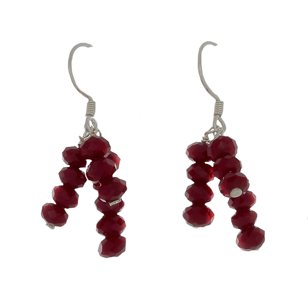 Wine colored crystal earrings on Sterling French Wire - Finesse Jewelry