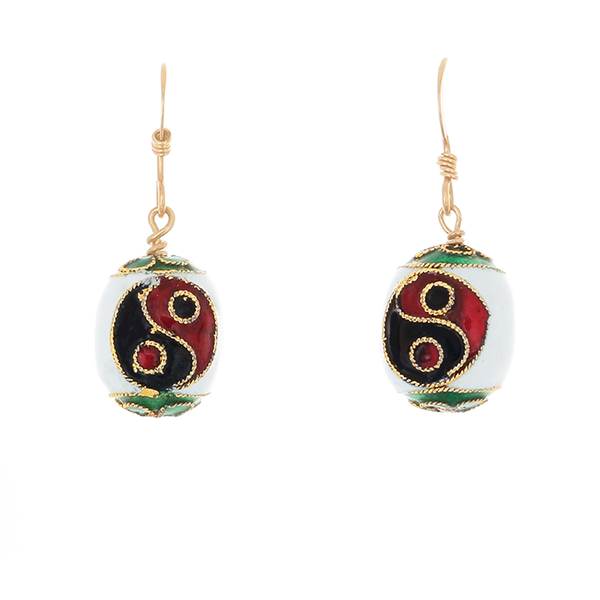 Cloisonne Yin/Yang beads on French Hook Earrings - Finesse Jewelry