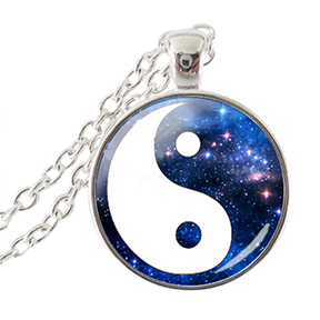 Yin Yang Pendant Necklace Starry Blue Night Sky - Finesse Jewelry