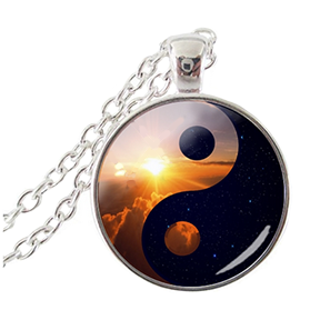 Yin Yang Pendant Necklace with Golden Sunrise and Blue/Black Night Scene - Finesse Jewelry