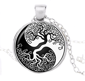 Yin Yang Tree of Life Pendant  Necklace in Black and White-adjustable 23