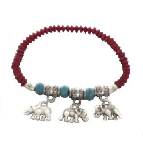 Turquoise, coral, and silver Elephant Charm Stretchy Bracelet - Finesse Jewelry