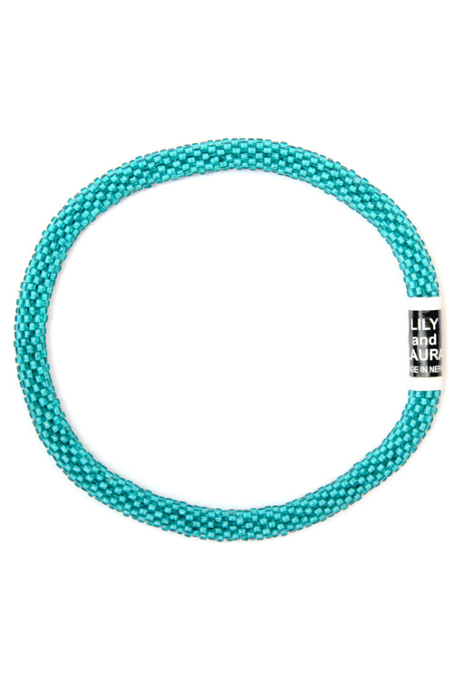 Clear Blue Teal Anklet by Lily and Laura