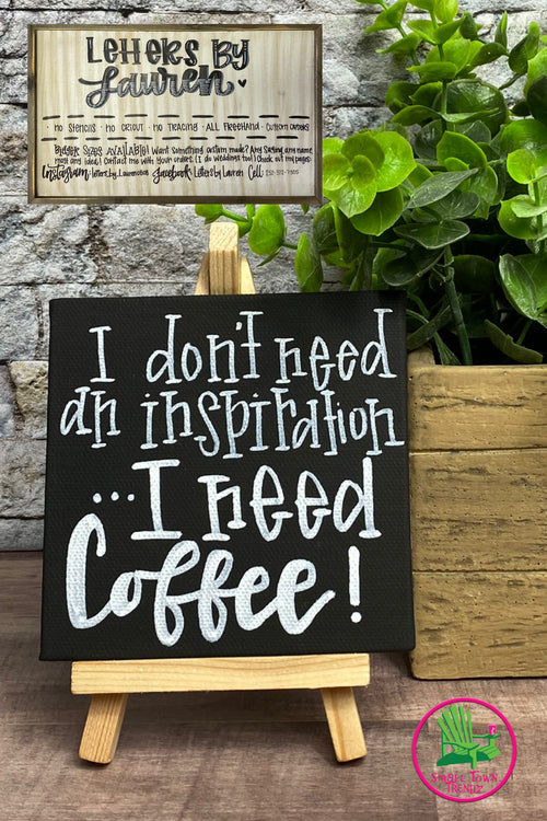 "Small Canvas ""Coffee"" Sign with Stand"
