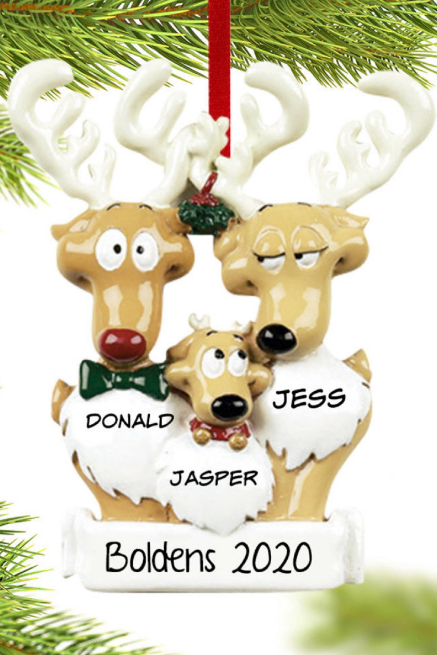 Personalized Family Ornament ~ Reindeer Family