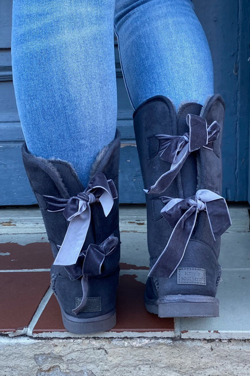 Suede Bow Boots By Simply Southern ~ Gray
