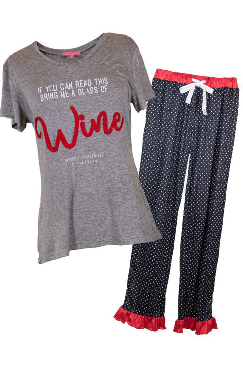 Wine Adult PJ Set by Simply Southern