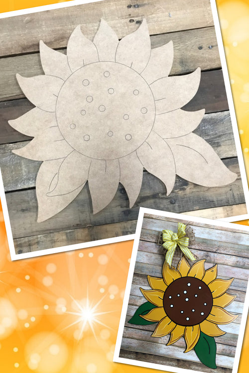 """Sunflower"" Wooden Door Hanger ~ Paint Yourself"