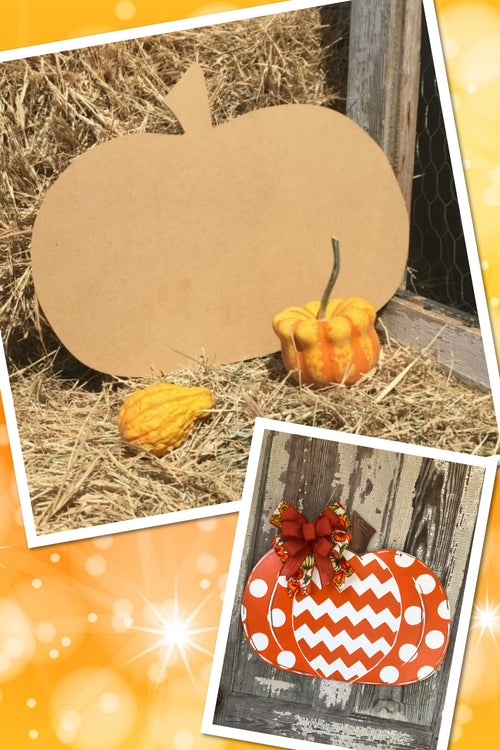 """Pumpkin"" Wooden Door Hanger ~ Paint Yourself"