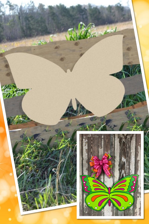 """Butterfly"" Wooden Door Hanger ~ Paint Yourself"