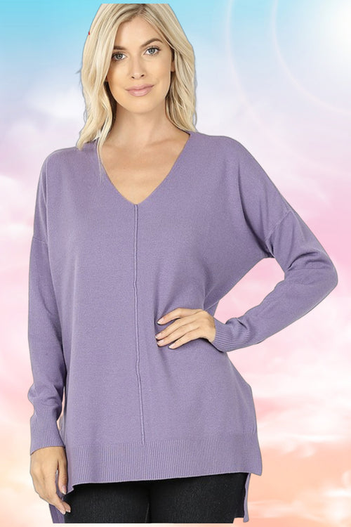 Jennifer Lilac Grey Hi-Low Sweater (Plus Size)