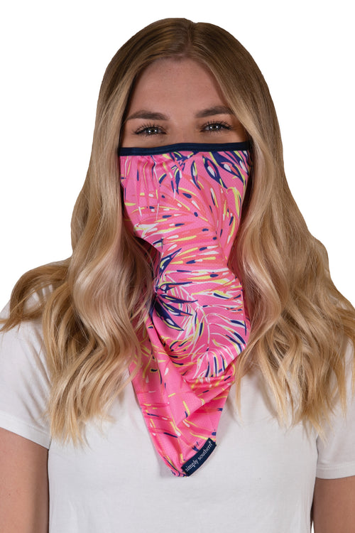 Pink Palm Bandana Style Adult Face Covering by Simply Southern