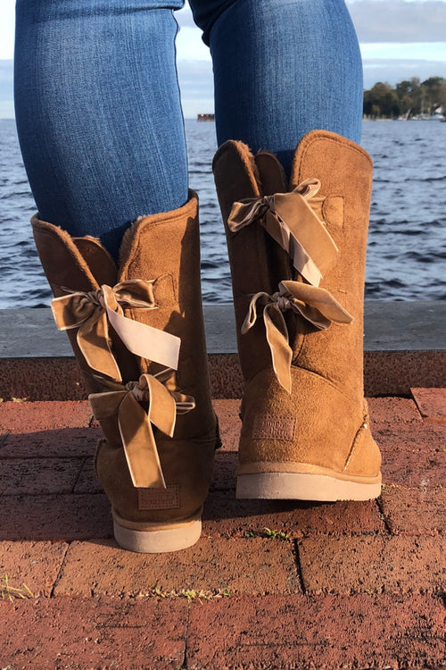 Suede Bow Boots By Simply Southern ~ Tan