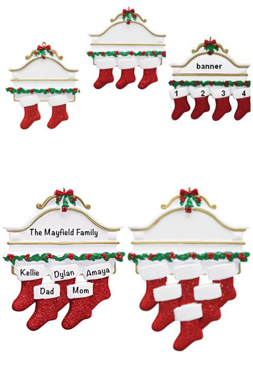 Personalized Family Ornament ~ Mantle with Stockings