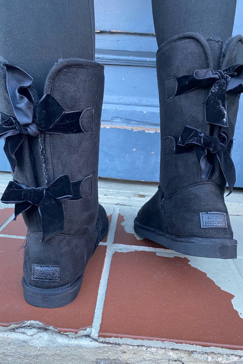 Suede Bow Boots By Simply Southern ~ Black