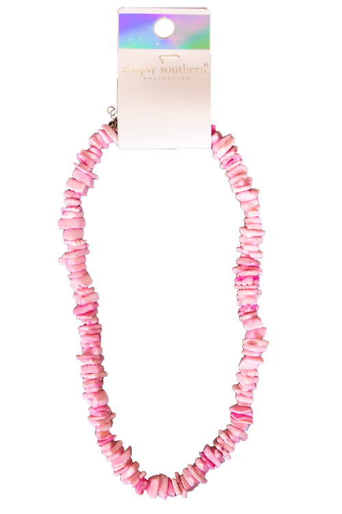 Beach Pink Puka Shell Necklace by Simply Southern