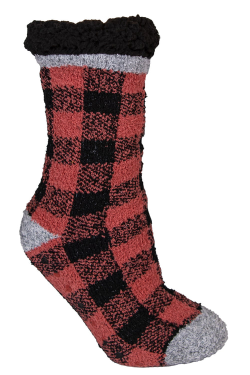Red Plaid Pattern Camper Socks by Simply Southern