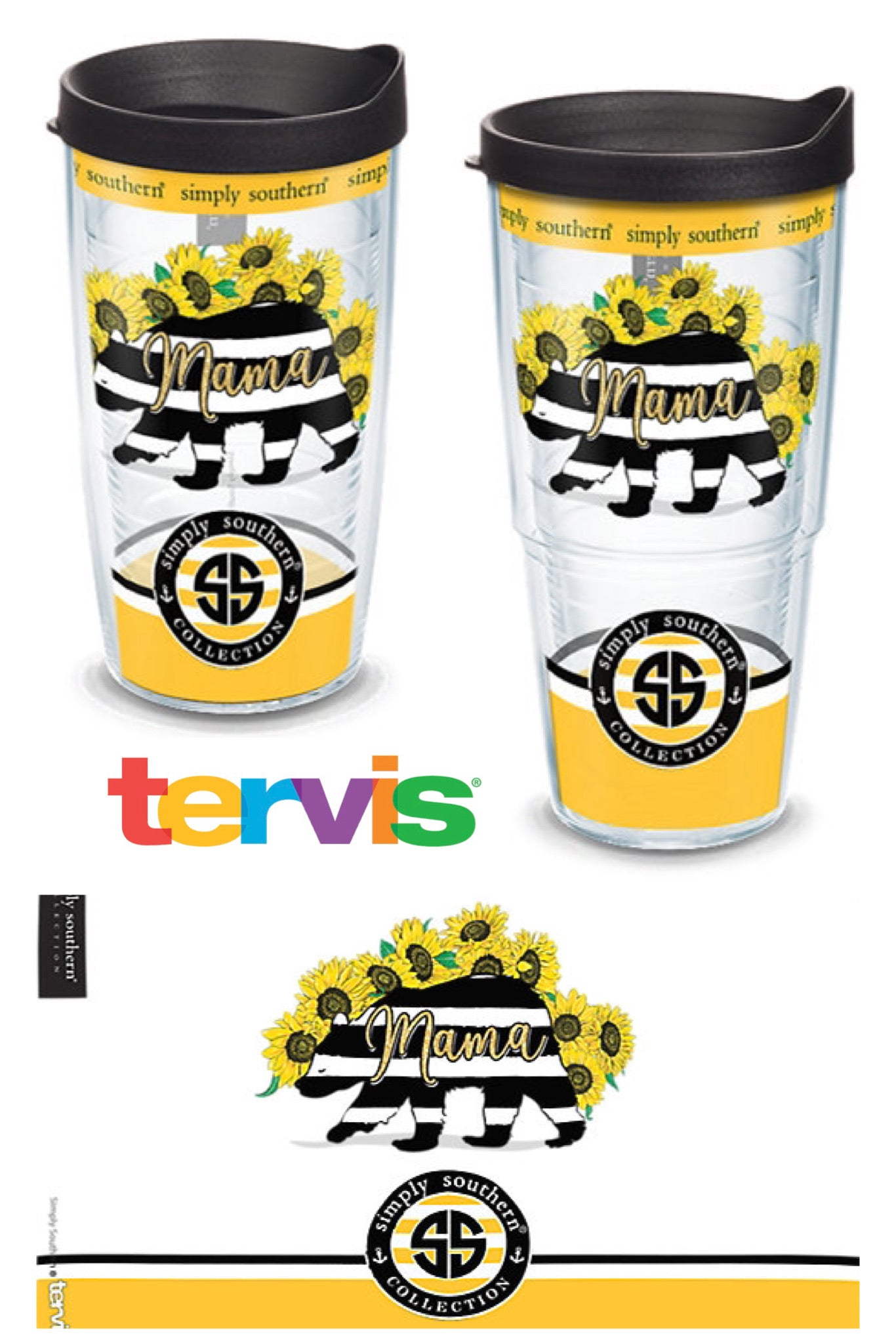 Simply Southern - Mama Bear Sunflower Plastic Tumblers by Tervis