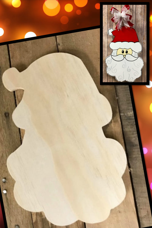"""Santa Head"" Wooden Door Hanger ~ Paint Yourself"