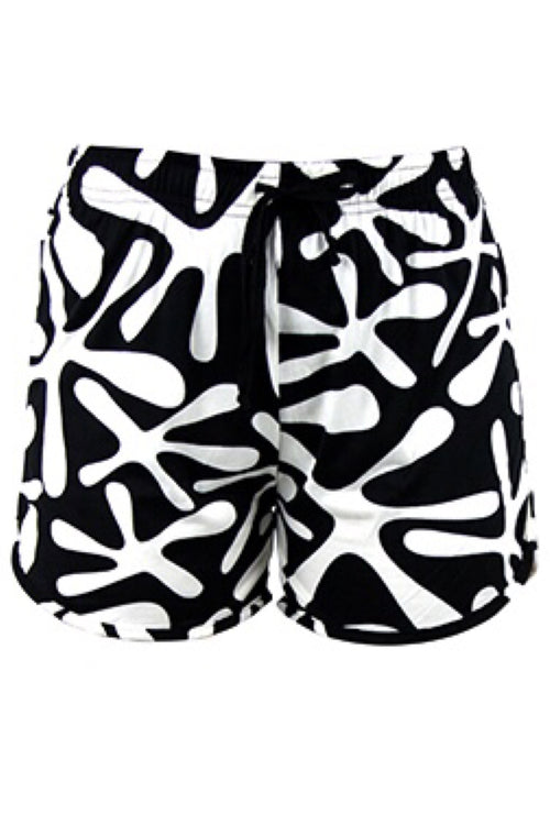 Black with White Paint Splat Lounge Shorts by Hello Mello