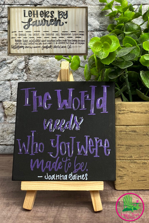 "Small Canvas ""The World"" Sign with Stand"