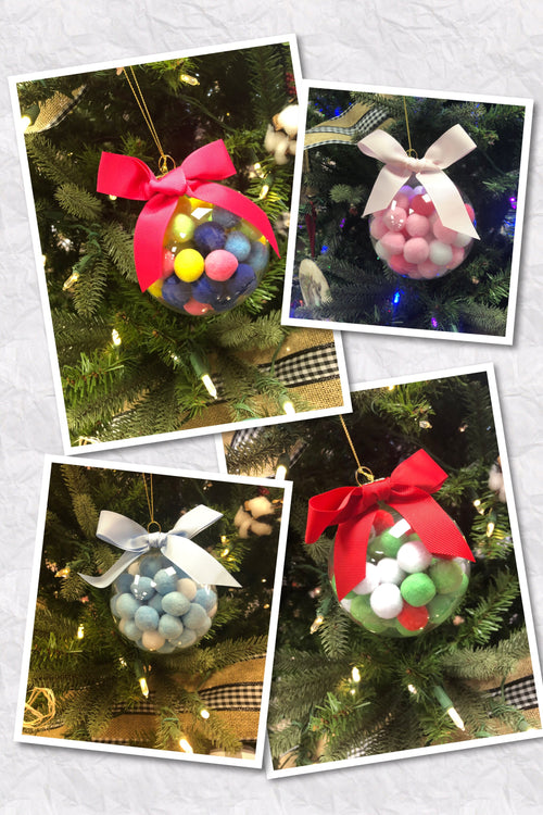 Glass Pom Pom Ball Ornaments