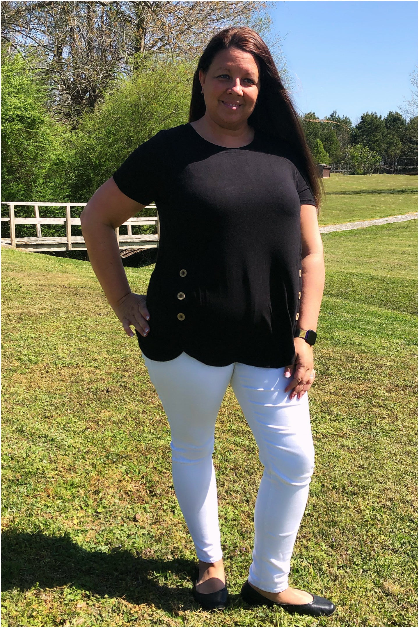 Rosalee ~ Black Short Sleeve Side Button Tunic