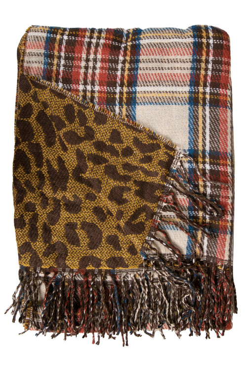 Leopard/Brown Plaid Double Scarves by Simply Southern