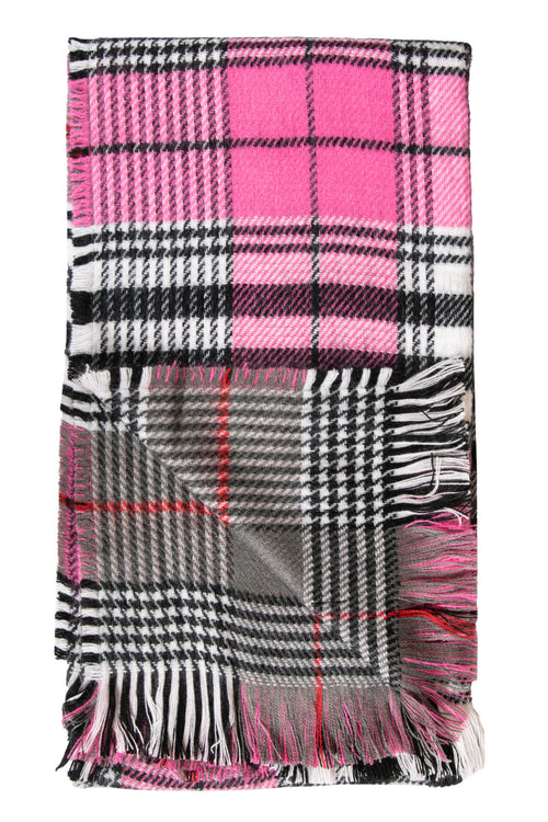 Plaid/Dark Pink Double Scarves by Simply Southern