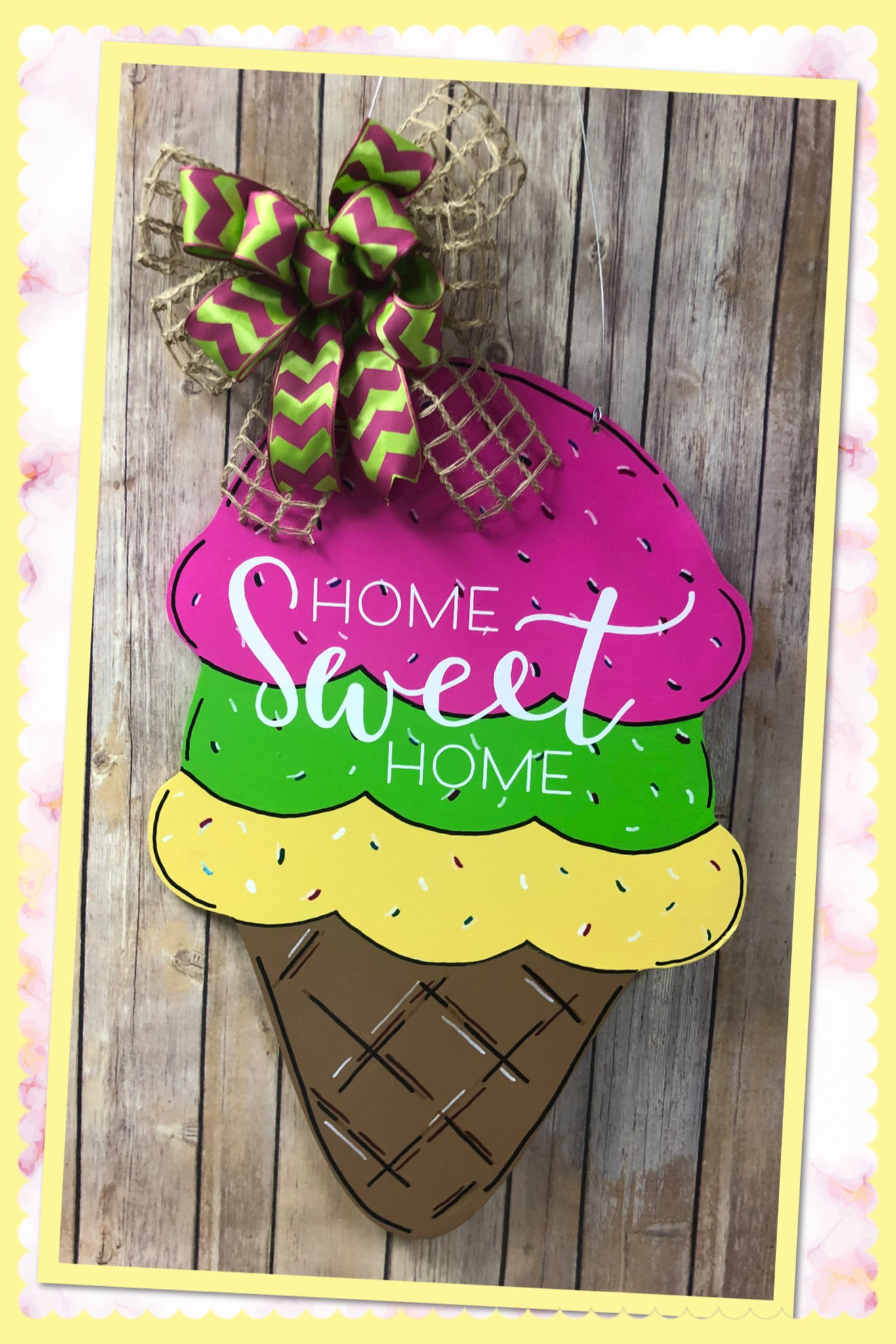 """Ice Cream Cone"" Wooden Door Hanger"