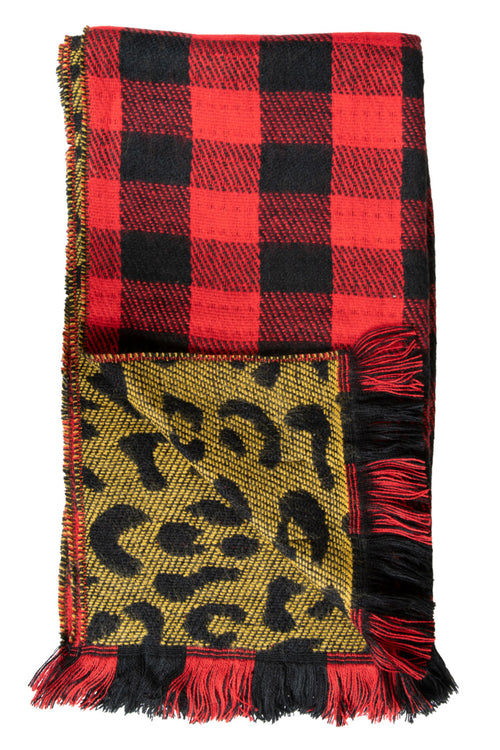 Leopard/Red Plaid Double Scarves by Simply Southern