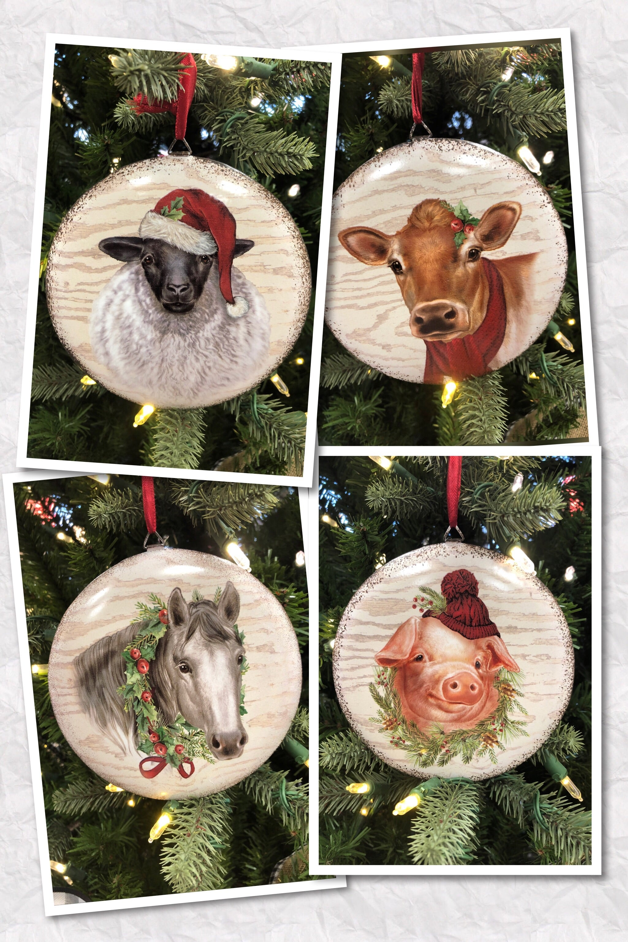Barnyard Animal Metal Ornaments