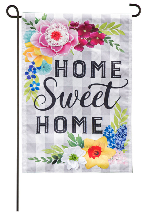 Home Sweet Home Plaid Floral Garden Linen Flag